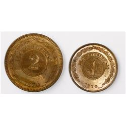 Lot of two Paraguay copper minors (2 and 1 centesimos) of 1870, ex-Heaton Mint.