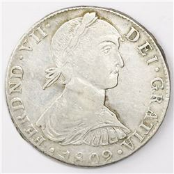 "Lima, Peru, bust 8 reales, Ferdinand VII transitional (""imaginary"" bust), 1809JP, king's name as FER"