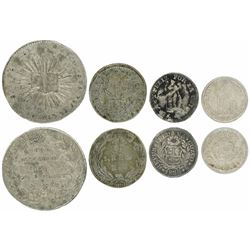 Lot of four silver minors of Peru (three) and Colombia (1): Peru, 1/2 peso-sized medal, 1828, congre