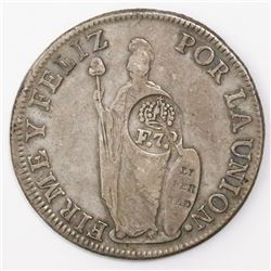 "Philippines (under Spain), 8 reales, Ferdinand VII, crowned ""F.7.o"" countermark (1832-4) on a Lima,"