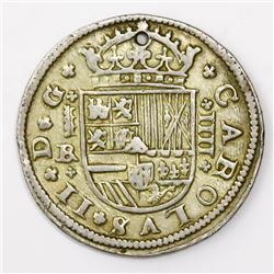 "Segovia, Spain, milled 4 reales ""double pistareen,"" Charles II, 1684BR."