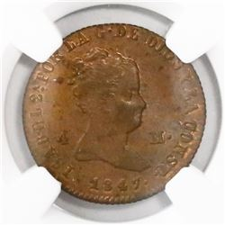 Jubia, Spain, copper 4 maravedis, Isabel II, 1847, encapsulated NGC MS 63 RB.