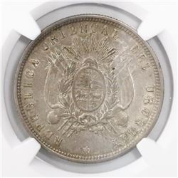 Uruguay (struck in Paris), 50 centesimos, 1877-A, encapsulated NGC AU 58.