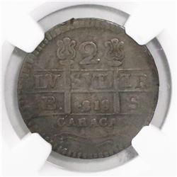 Caracas, Venezuela (Republican issue), 2 reales, 1818BS (struck in 1830), rosettes flanking cross, e