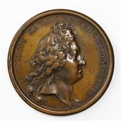 France (struck in Paris), copper medal, Louis XIV, 1697, Cartagena (Colombia).