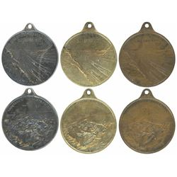 Lot of three Panama silver, brass, and copper medals, 1912, Hamilton Foley panorama of the Panama Ca