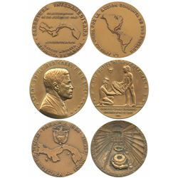 Lot of three Panama bronze medals, 1967-84, Panama transportation and utilities, ex-Richard Stuart.