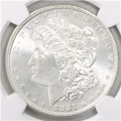 USA (San Francisco mint), $1 Morgan, 1881-S, encapsulated NGC MS 65.
