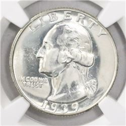 USA (Philadelphia mint), proof quarter dollar Washington, 1939, encapsulated NGC PF 64.