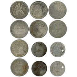 Lot of six USA (Philadelphia mint) small coins: four Seated Liberty dimes (1838, 1843, 1849 and 1852