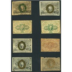 Lot of eight USA (Washington, D.C.), fractional notes, 1862-63.