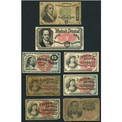 Lot of eight USA (Washington, D.C.), fractional notes, 1863-64.