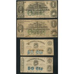 Lot of fourteen Montgomery, State of Alabama issued notes, 1-1-1863.