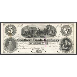 Russellville, Kentucky, Southern Bank of Kentucky, 5 dollars front proof, ND (1850s-1860s), no overp