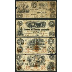 Lot of four Michigan notes, 1841-54.