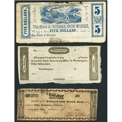 Lot of fourteen obsolete and scrip notes, 1810s-1862.