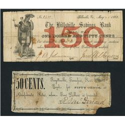 Lot of two scrip notes, 1862.