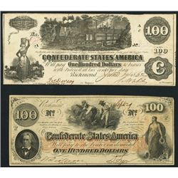 Lot of two Richmond, CSA, $100 notes, 1862.