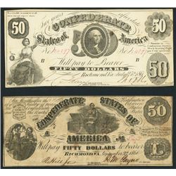 Lot of two Richmond, CSA, $50 notes, 1861.