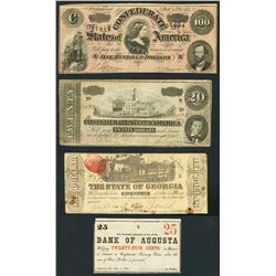 Lot of four CSA and Southern States notes, 1863-64.