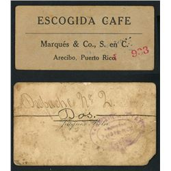 Lot of two Puerto Rican plantation scrip, ca. 1890s.
