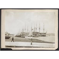 Original sepia photo of the HMS Victory and HMS Duke of Wellington at dock (late 1800s).