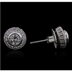 14KT White Gold 1.75 ctw Diamond Earrings