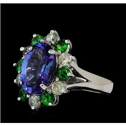 3.90 ctw Tanzanite, Tsavorite and Diamond Ring - 14KT White Gold