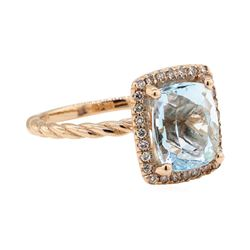 5.81 ctw Aquamarine and Diamond Ring - 14KT Rose Gold