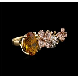 4.68 ctw Citrine Quartz and Diamond Ring - 14KT Tri Color Gold