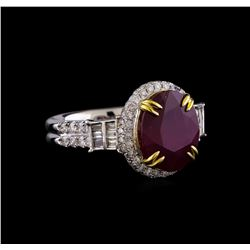 14KT Two-Tone Gold 5.44 ctw Ruby and Diamond Ring