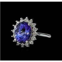 5.88 ctw Tanzanite and Diamond Ring - 14KT White Gold