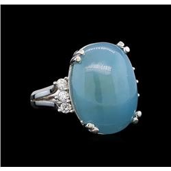 14KT White Gold 7.60 ctw Aquamarine and Diamond Ring