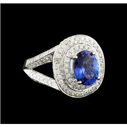 14KT White Gold 2.46 ctw Tanzanite and Diamond Ring