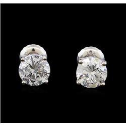 1.60 ctw Diamond Stud Earrings - 14KT White Gold