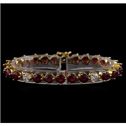 14KT Yellow Gold 18.27 ctw Ruby and Diamond Bracelet