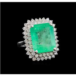 GIA Cert 13.45 ctw Emerald and Diamond Ring - 14KT White Gold