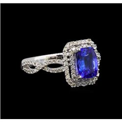 14KT White Gold 1.27 ctw Tanzanite and Diamond Ring
