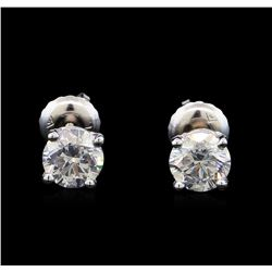 1.20 ctw Diamond Stud Earrings - 14KT White Gold