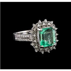 2.83 ctw Emerald and Diamond Ring - 14KT White Gold