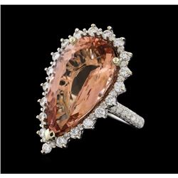 14.09 ctw Morganite and Diamond Ring - 14KT White Gold