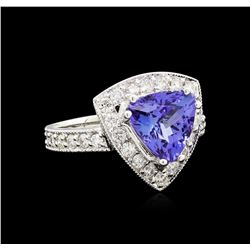 3.06 ctw Tanzanite and Diamond Ring - 14KT White Gold