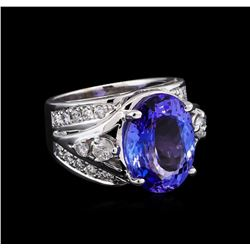 8.75 ctw Tanzanite and Diamond Ring - 14KT White Gold