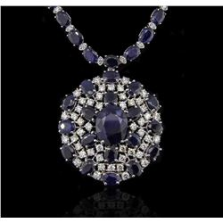 14KT White Gold 196.43 ctw Sapphire Necklace