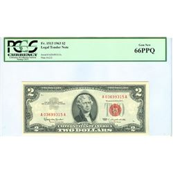 1963 PCGS GN66PPQ $2 Red Seal Legal Tender Bank Note