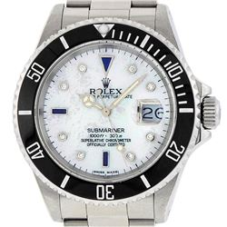 Rolex Mens Stainless Steel Mother Of Pearl Diamond 8 + 2 Sapphire Submariner