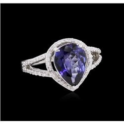 2.24 ctw Tanzanite and Diamond Ring - 14KT White Gold