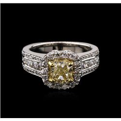 2.21 ctw Fancy Yellow Diamond Ring - 14KT Two-Tone Gold