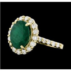 3.98 ctw Emerald and Diamond Ring - 14KT Yellow Gold