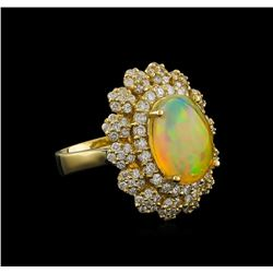 4.68 ctw Opal and Diamond Ring - 14KT Yellow Gold